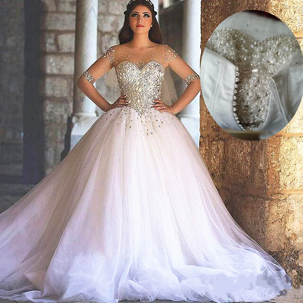 Bling bling wedding dress ball gown wedding dresses for Long sleeve wedding dress for sale